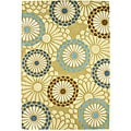 Aurora Blossom Light Green Wool Rug (5' x 8')