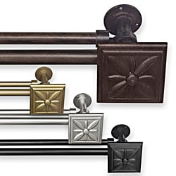 Adjustable Double Curtain Rod Set with Floral Finial