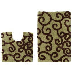 Celebration New Scroll 2-piece Contour and Bath Rug Set