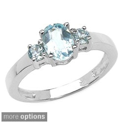 Malaika Sterling Silver Blue Topaz or Tanzanite 3-stone Ring