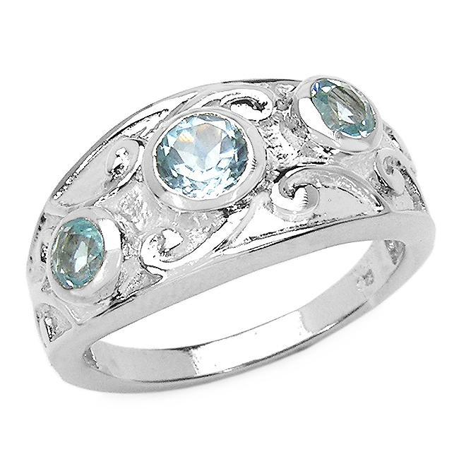 Malaika Sterling Silver Blue Topaz 3-stone Filigree Design Ring