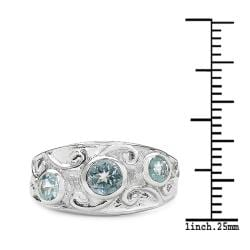 Malaika Sterling Silver Blue Topaz 3-stone Filigree Design Ring