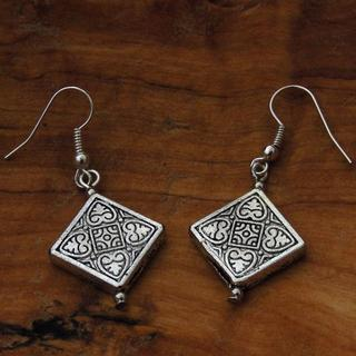 Sterling Silver Diamond-shaped Tibetan Symmetry Earrings (China)