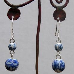 Sterling Silver Chinese Porcelain Earrings (China)