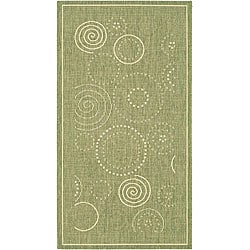Safavieh Indoor/ Outdoor Ocean Olive/ Natural Rug (2'7 x 5')