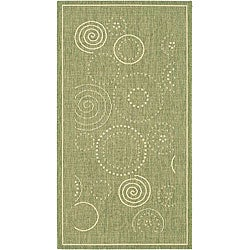 Indoor/ Outdoor Ocean Olive/ Natural Rug (2'7 x 5')