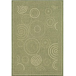 Indoor/ Outdoor Ocean Olive/ Natural Rug (5'3 x 7'7)