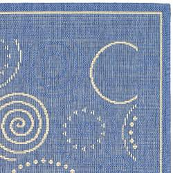 Indoor/ Outdoor Ocean Blue/ Natural Rug (4' x 5'7)