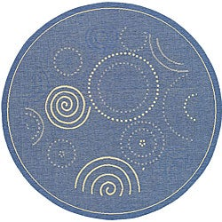 Safavieh Indoor/ Outdoor Ocean Blue/ Natural Rug (5'3 Round)
