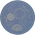 Safavieh Indoor/ Outdoor Ocean Blue/ Natural Rug (6'7 Round)