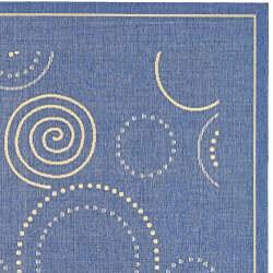 Safavieh Indoor/ Outdoor Ocean Blue/ Natural Rug (7'10 x 11')