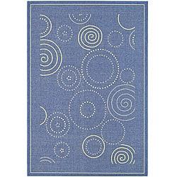 Indoor/ Outdoor Ocean Blue/ Natural Rug (7'10 x 11')