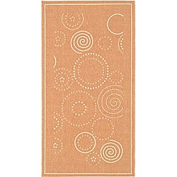 Indoor/ Outdoor Ocean Terracotta/ Natural Rug (4' x 5'7)