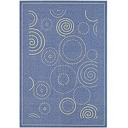 Indoor/ Outdoor Ocean Blue/ Natural Rug (5'3 x 7'7)