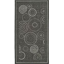 Indoor/ Outdoor Ocean Black/ Sand Rug (2'7 x 5')