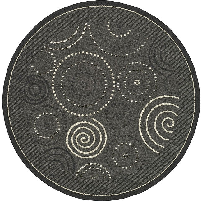 Safavieh Indoor/ Outdoor Ocean Black/ Sand Rug (5'3 Round)