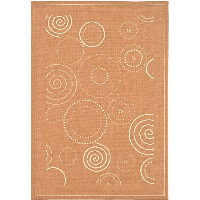 Safavieh Indoor/ Outdoor Ocean Terracotta/ Natural Rug (7'10 x 11')