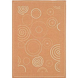 Indoor/ Outdoor Ocean Terracotta/ Natural Rug (7'10 x 11')