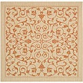 Indoor/ Outdoor Resorts Natural/ Terracotta Rug (7'10 Square)