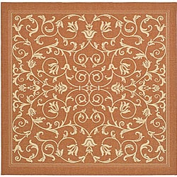 Indoor/ Outdoor Resorts Terracotta/ Natural Rug (7'10 Square)