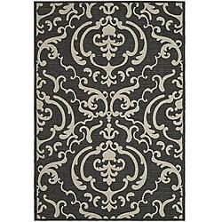 Safavieh Indoor/ Outdoor Bimini Black/ Sand Rug (7'10 Square)