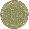 Indoor/ Outdoor Oasis Olive/ Natural Rug (6'7 Round)