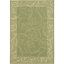 Safavieh Indoor/ Outdoor Oasis Olive/ Natural Rug (7'10 x 11')