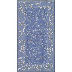 Safavieh Indoor/ Outdoor Oasis Blue/ Natural Rug (2'7 x 5')