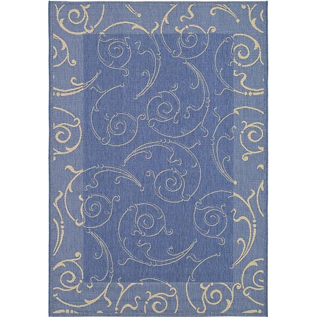 Safavieh Indoor/ Outdoor Oasis Blue/ Natural Rug (4' x 5'7)