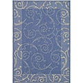Indoor/ Outdoor Oasis Blue/ Natural Rug (4' x 5'7)