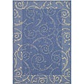 Indoor/ Outdoor Oasis Blue/ Natural Rug (6'7 x 9'6)