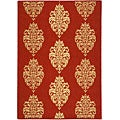 Indoor/ Outdoor St. Martin Red/ Natural Rug (6'7 Square)