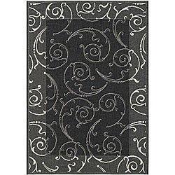 Indoor/ Outdoor Oasis Black/ Sand Rug (5'3 x 7'7)