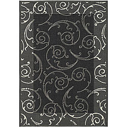 Indoor/ Outdoor Oasis Black/ Sand Rug (7'10 x 11')