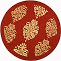 Indoor/ Outdoor St. Martin Red/ Natural Rug (6'7 Round)
