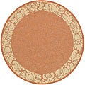 Safavieh Indoor/ Outdoor Kaii Terracotta/ Natural Rug (6'7 Round)