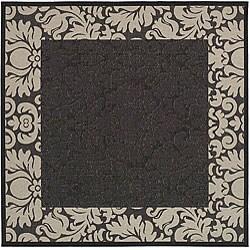 Safavieh Indoor/ Outdoor Kaii Black/ Sand Rug (7'10 Square)