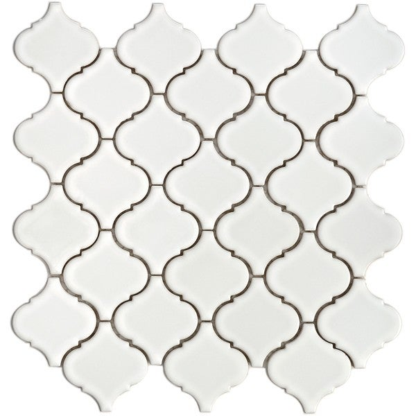 SomerTile 12.5x12.5-in Morocco Glossy White Porcelain Mosaic Tile (Pack of 10)