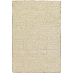 Hand-woven Mandara White New Zealand Wool Shag (1'6 x 2'3)