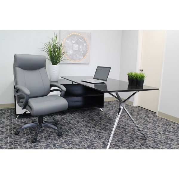 Boss LeatherPlus Bonded Leather Pillow Top Executive Chair with Padded Arms