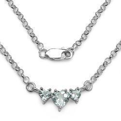 Malaika Sterling Silver Blue Topaz Triple Heart Necklace