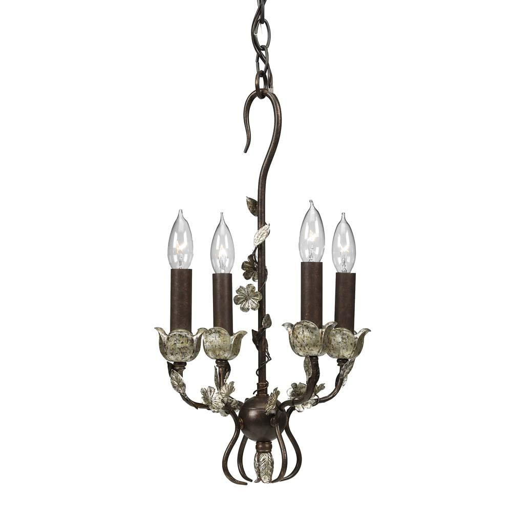 silver wrought iron 4 light mini chandelier 11349776. Black Bedroom Furniture Sets. Home Design Ideas