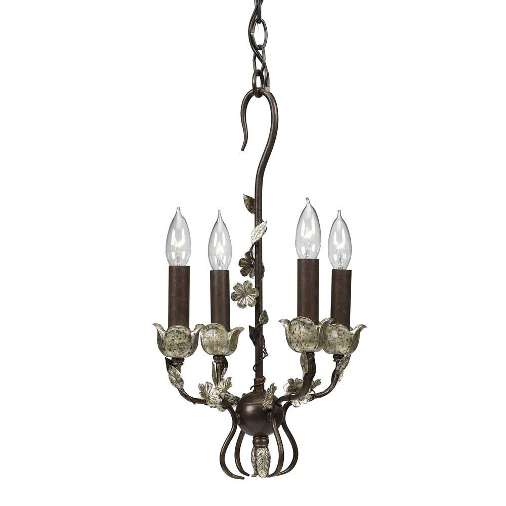 silver wrought iron 4 light mini chandelier 11349776. Black Bedroom Furniture Sets. Home Design Ideas
