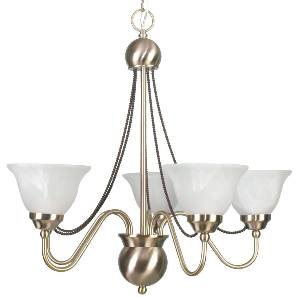 satin brass 5 light chandelier with alabaster glass on popsc