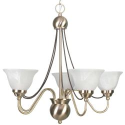 Satin Brass 5-light Chandelier with Alabaster Glass