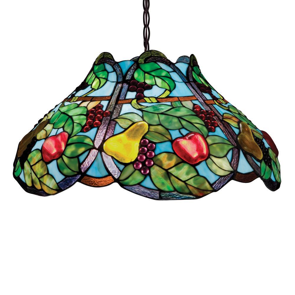 Bronze Tiffany Style Fruit Motif 2 Light Pendant