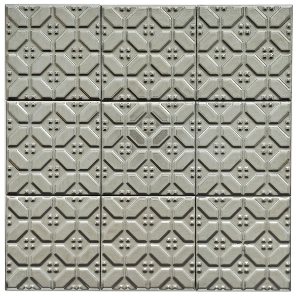 SomerTile 4x4-in Mercury Metal Hexagon Porcelain Décor Tile (Pack of 9)