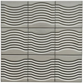 SomerTile 4x4-in Mercury Metal Wave Porcelain Décor Tile (Pack of 9)