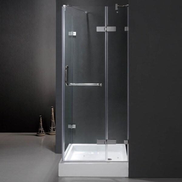 Vigo Frameless Square Clear Shower Enclosure and Base (32 x 32)