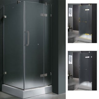 VIGO 36 x 36 Frameless 3/8-inch Frosted Shower Enclosure with Base